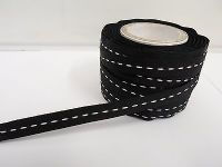 4mm or 10mm Single Centre Stitched Ribbon 2 metres or 50 metre roll Double sided